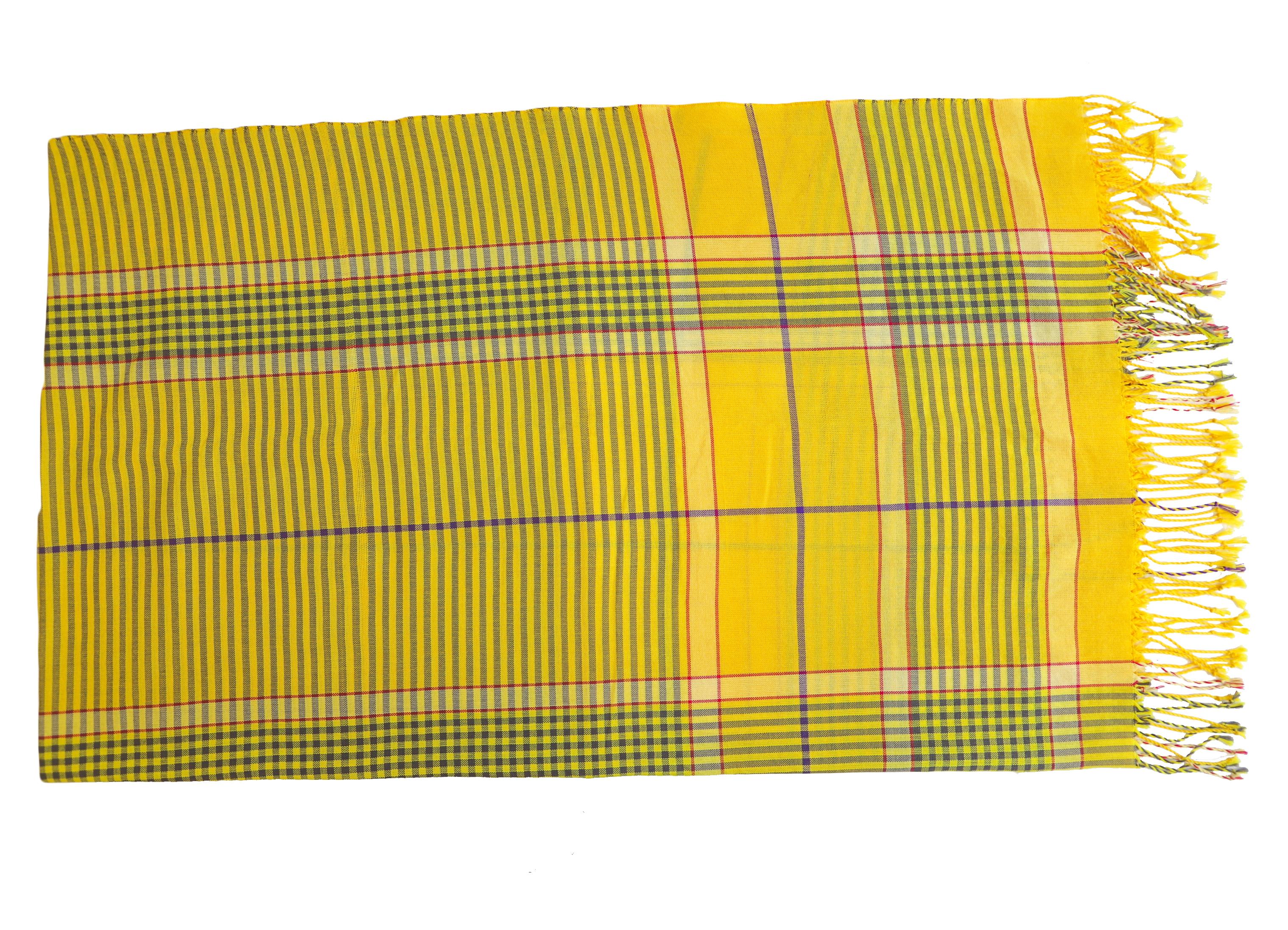 Strandtuch-gelb-gestreift-Bille-handgewebt-ksg